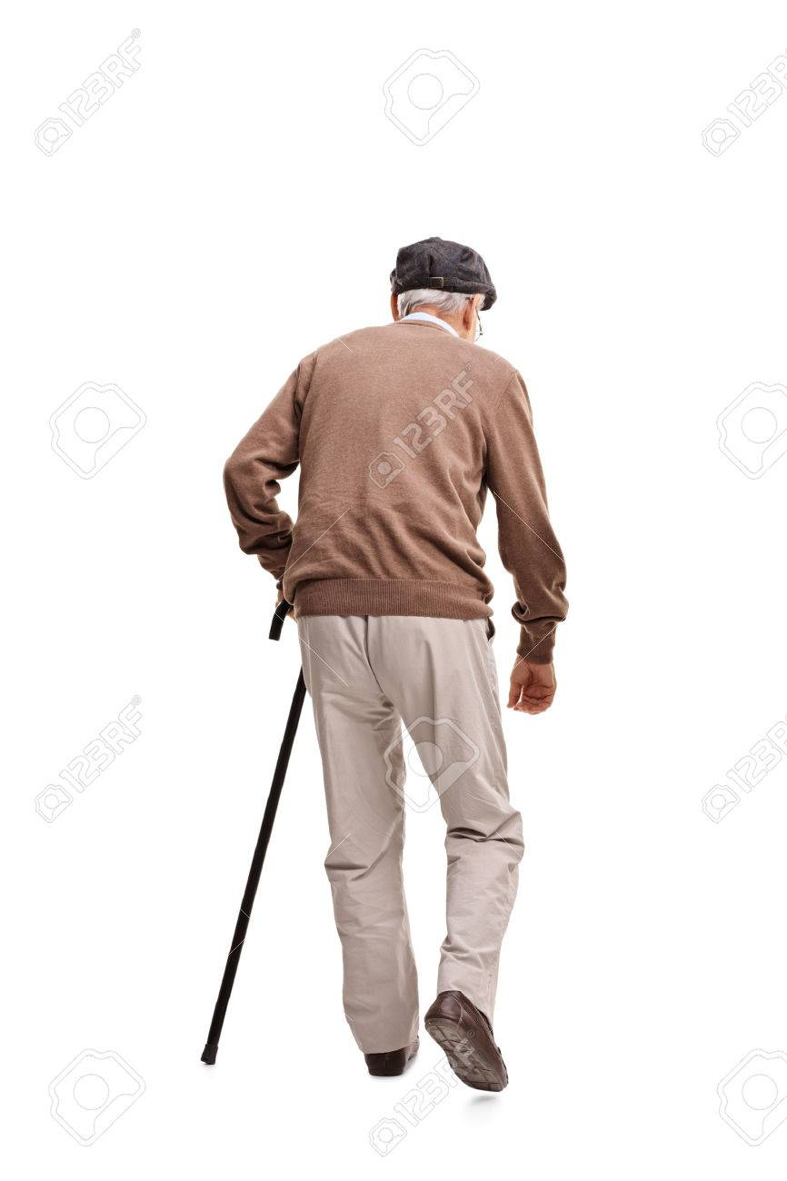 Walking cane stock photos royalty free business images rear view vertical shot of an old man walking with a black cane isolated on white biocorpaavc Image collections