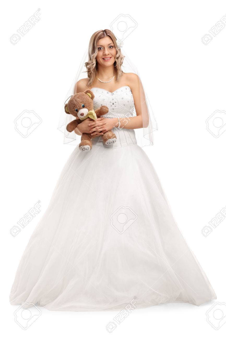 Full Length Portrait Of A Young Bride In A White Wedding Dress ...
