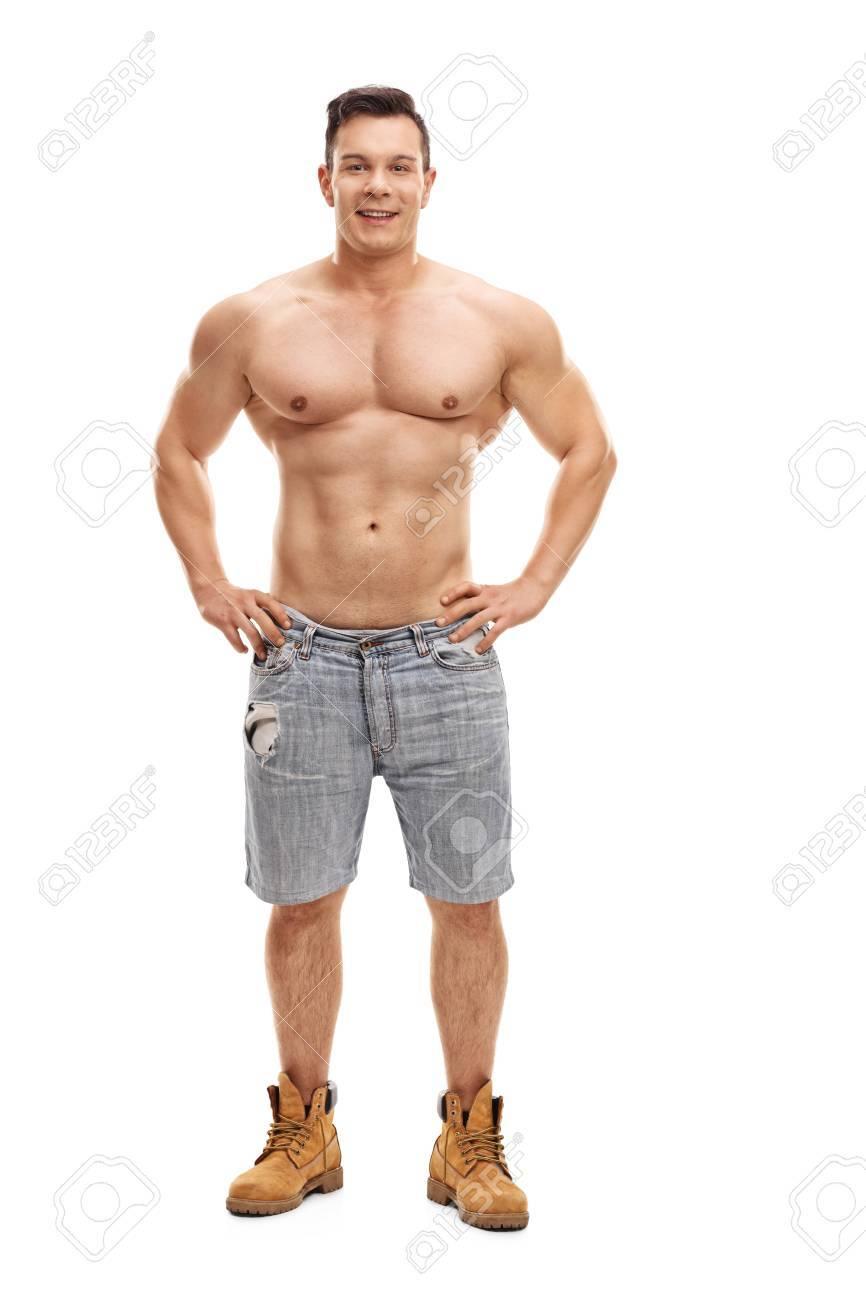 Mit Nacktem Oberkörper Muskulösen Kerl Posiert Und Blick In Die ...