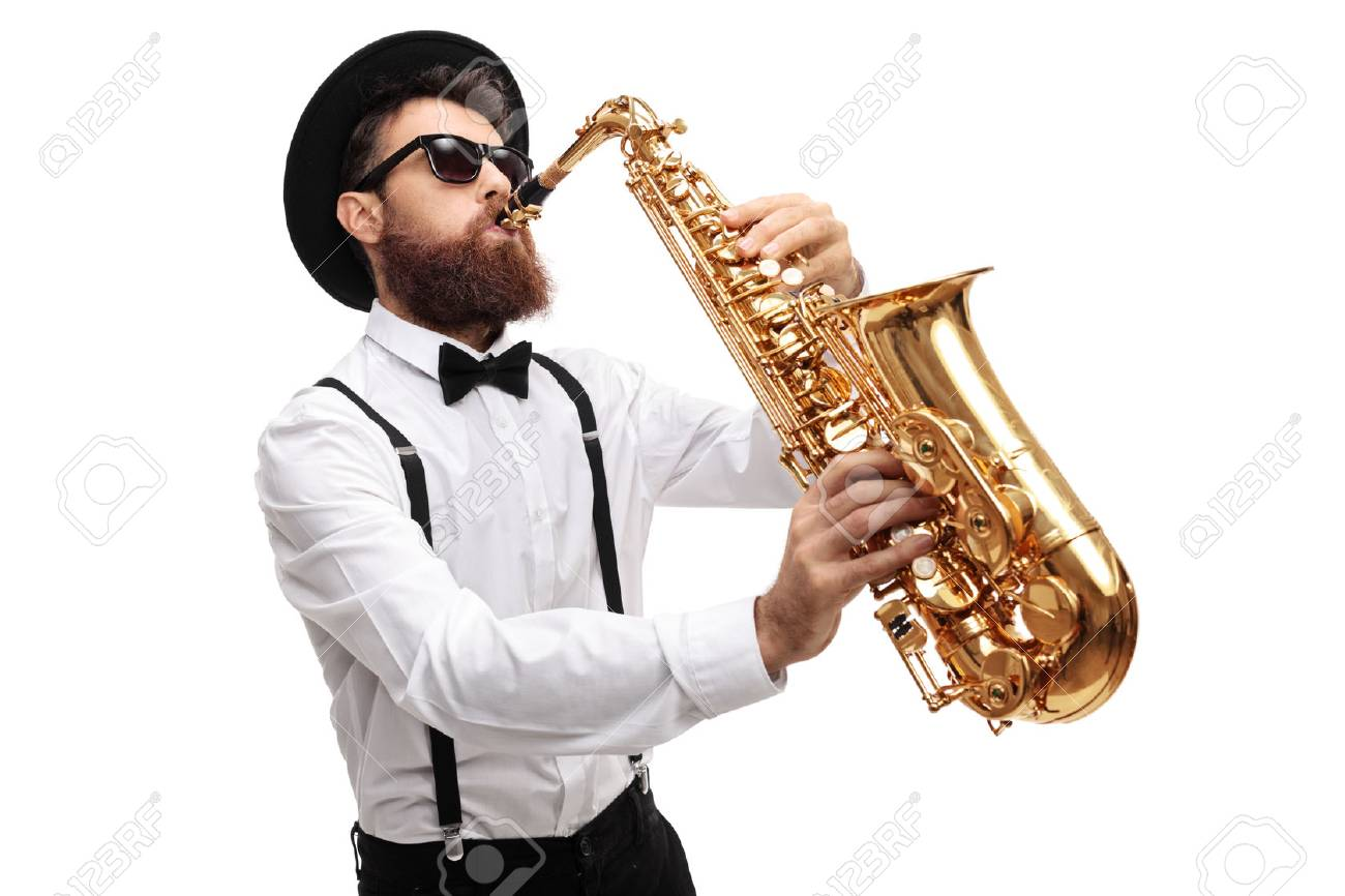 Bearded man playing a saxophone isolated on white background - 78661211