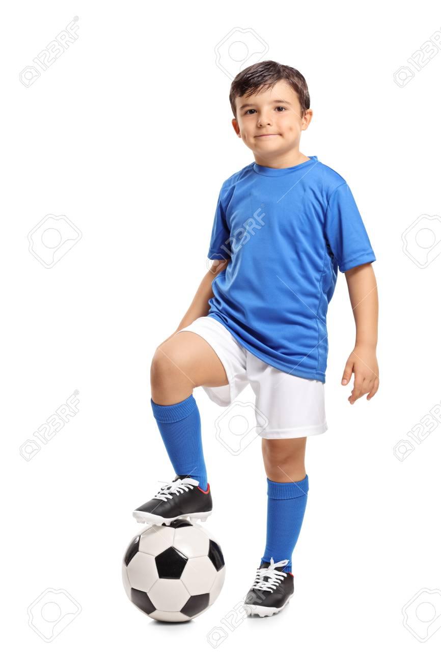 Full length portrait of a little footballer isolated on white background - 88269052