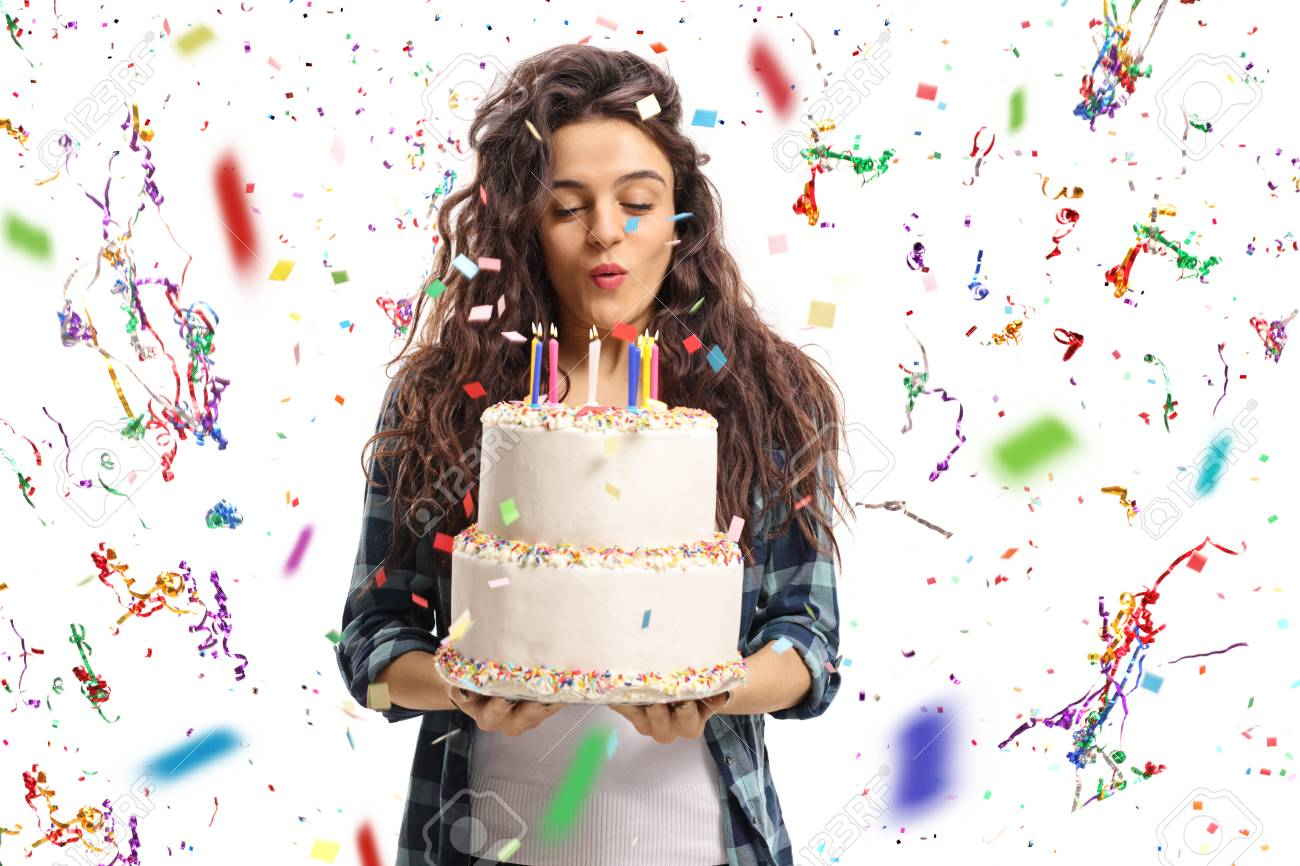 Pleasant Teenage Girl Blowing Candles On A Birthday Cake With Confetti Personalised Birthday Cards Veneteletsinfo