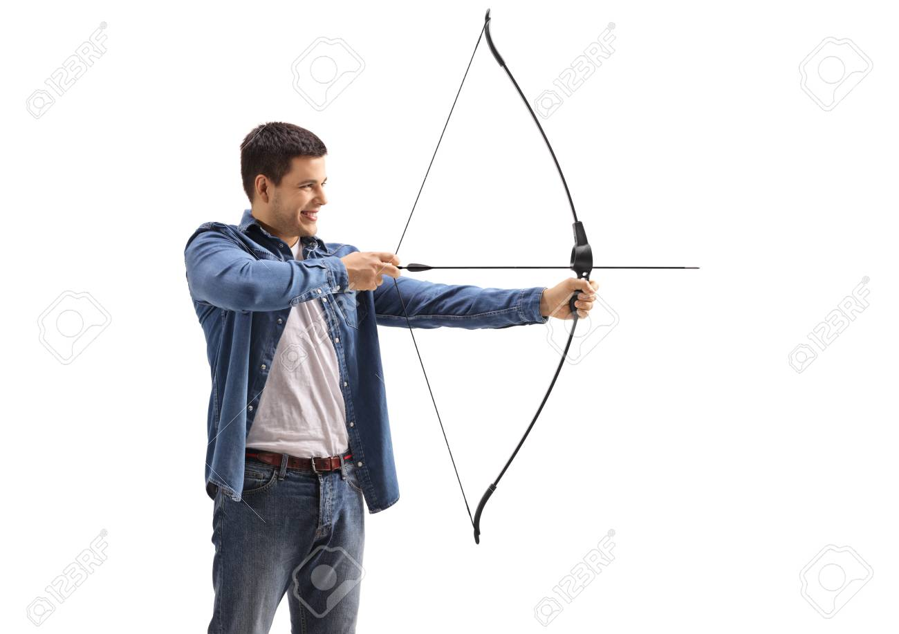 Young man aiming with a bow and arrow isolated on white background - 95657512