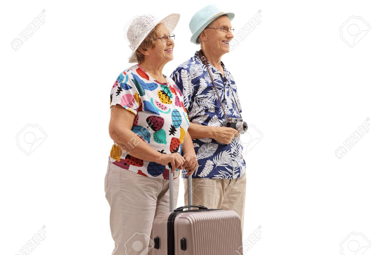 Elderly tourists with a suitcase isolated on white background - 95755037