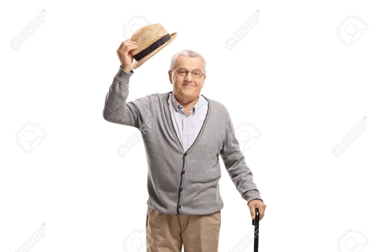 Senior man greeting with his hat isolated on white background - 121424075