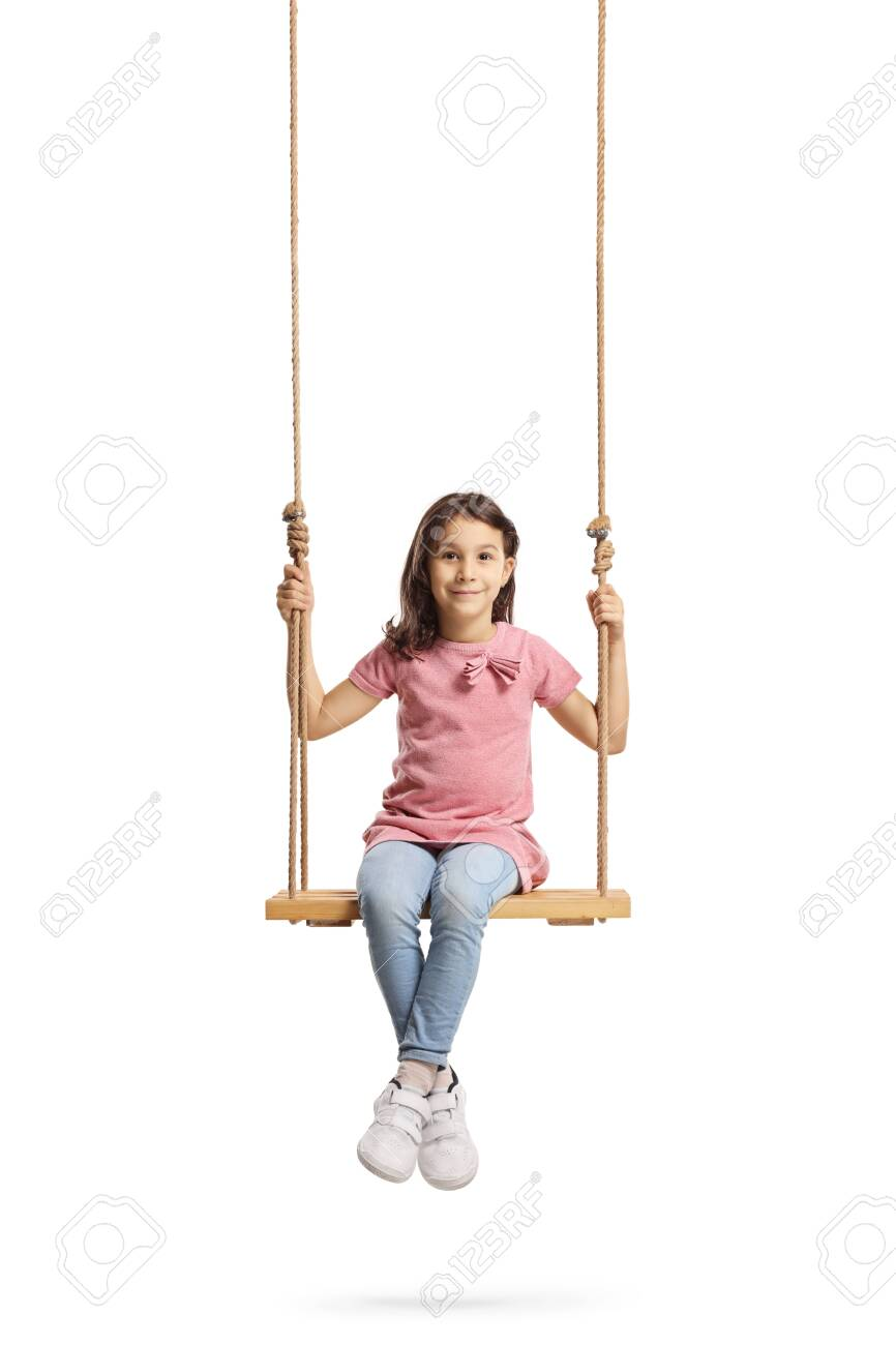 Full length portrait of a happy little girl sitting on a wooden swing isolated on white - 131719847