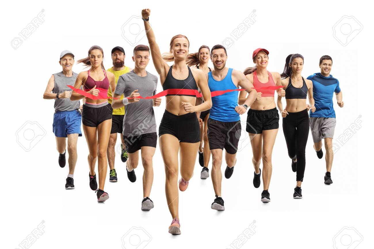 Full length portrait shot of people running a marathon race and a young woman finishing first isolated on white background - 143200431