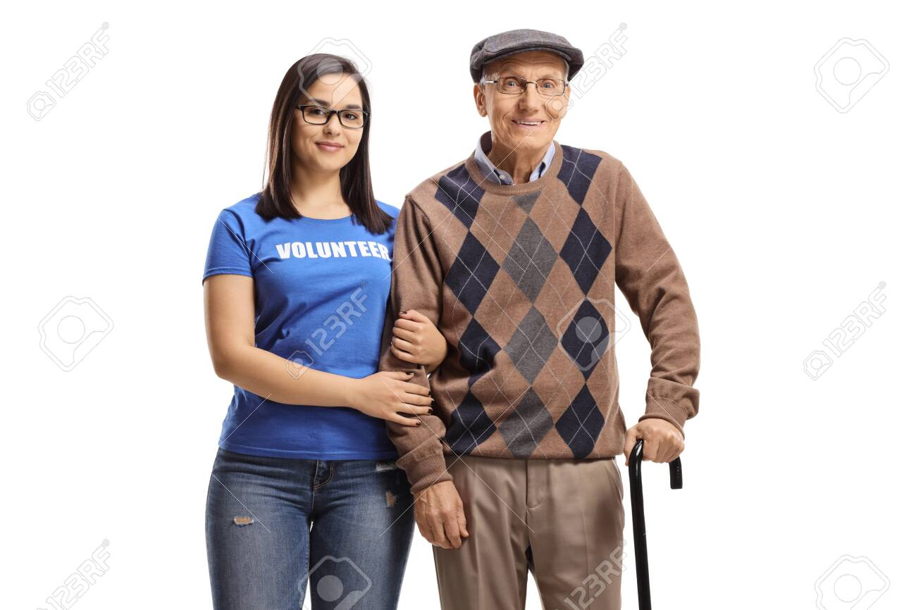 Woman volunteer standing with a senior male pensioner with a walking cane isolated on white background - 155711260