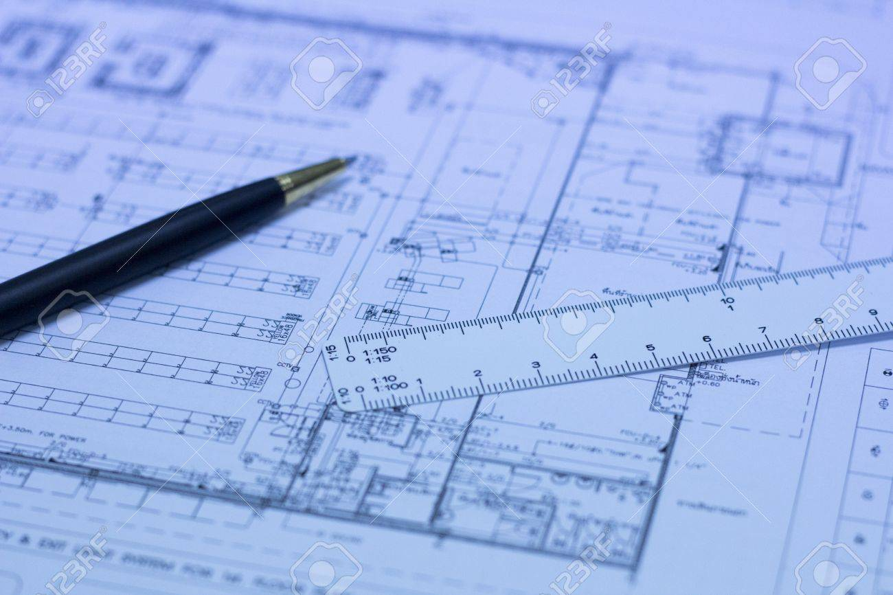 Pen scale ruler and blueprint building engineering concept pen scale ruler and blueprint building engineering concept vertical orientation stock photo malvernweather Choice Image