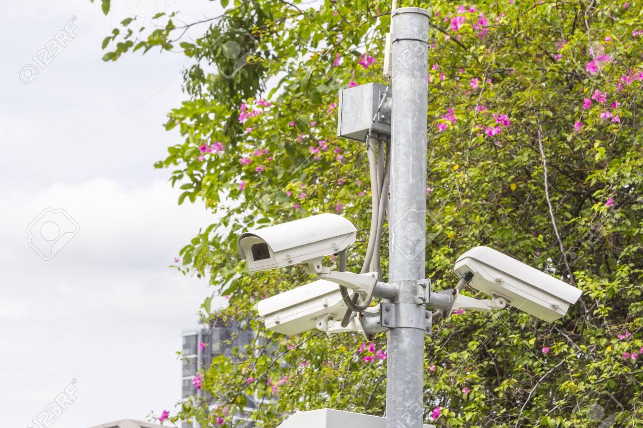 Circuito Cerrado De Televisión De Vigilancia De Cámaras De Seguridad En El Parque. Fotos, Retratos, Imágenes Y Fotografía De Archivo Libres De Derecho. Image 60364732.