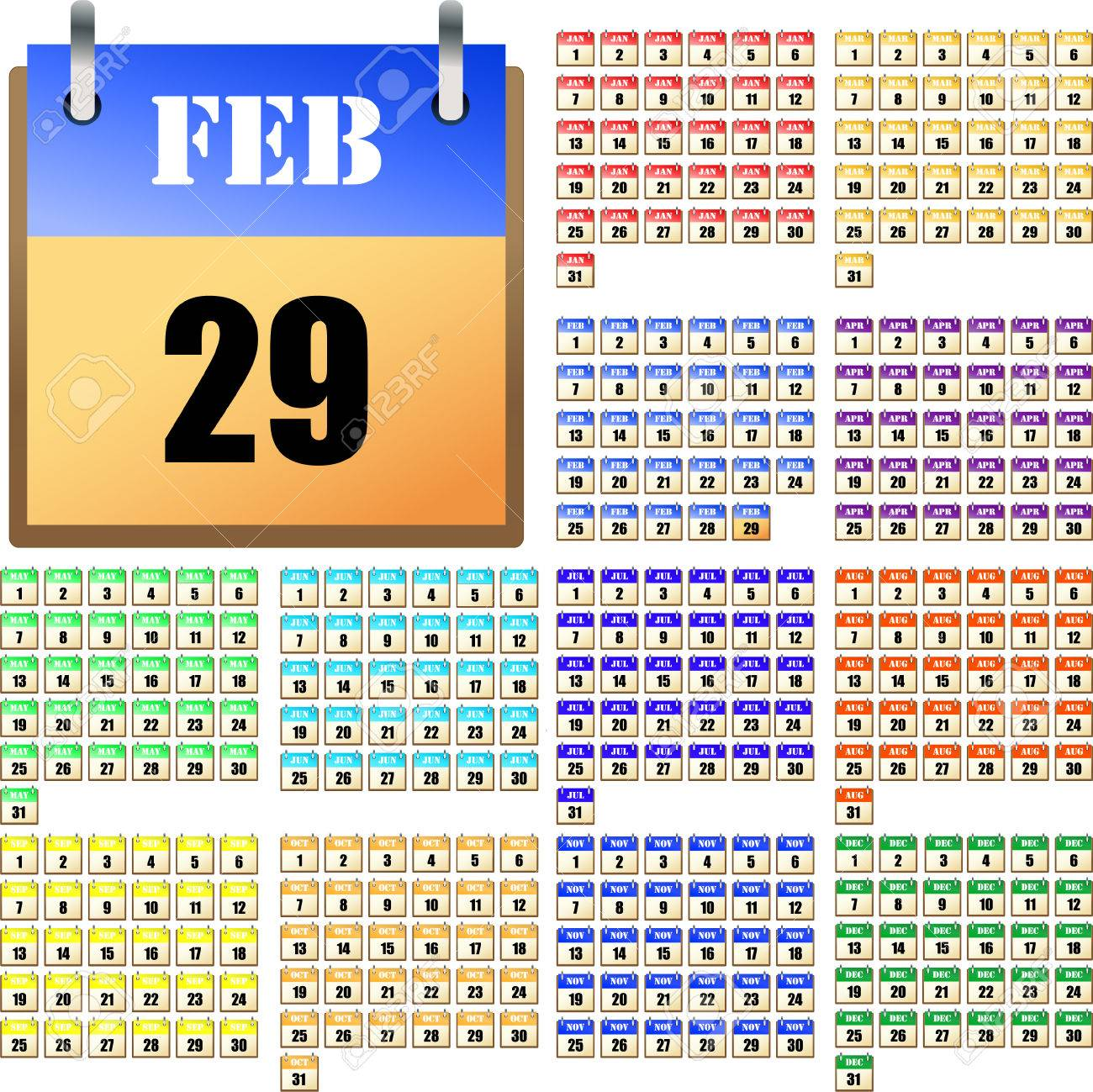 universal calendar for every year royalty free cliparts vectors