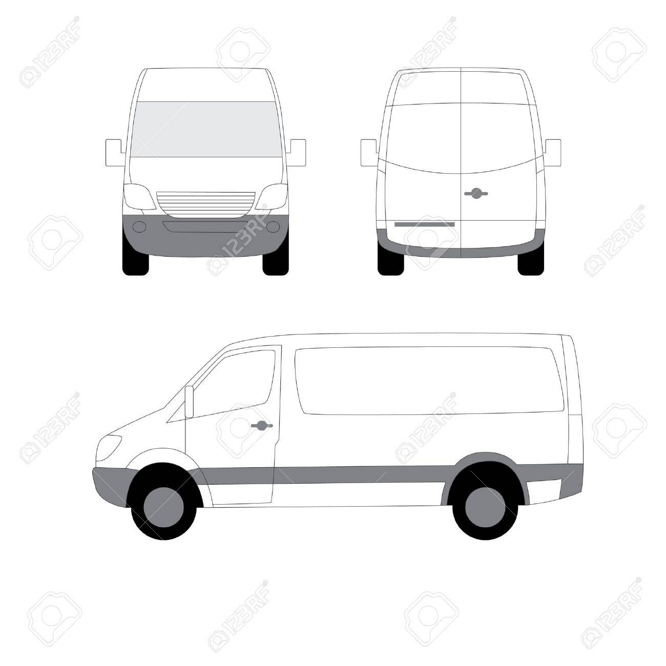 White delivery van three view angles Stock Vector - 11205284