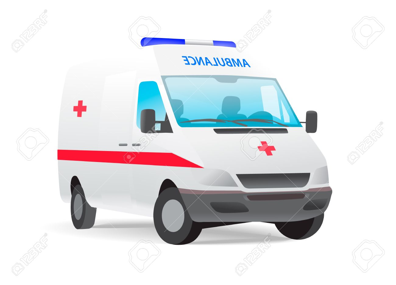 Ambulance van with red cross Stock Vector - 12363124