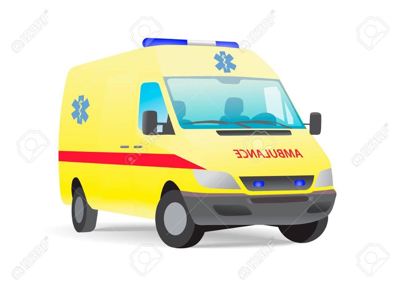 Yellow ambulance van with caduceus sign - 12363125