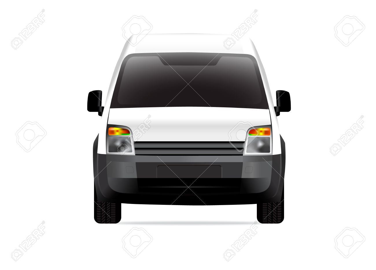 White delivery compact van front view Stock Vector - 12363191