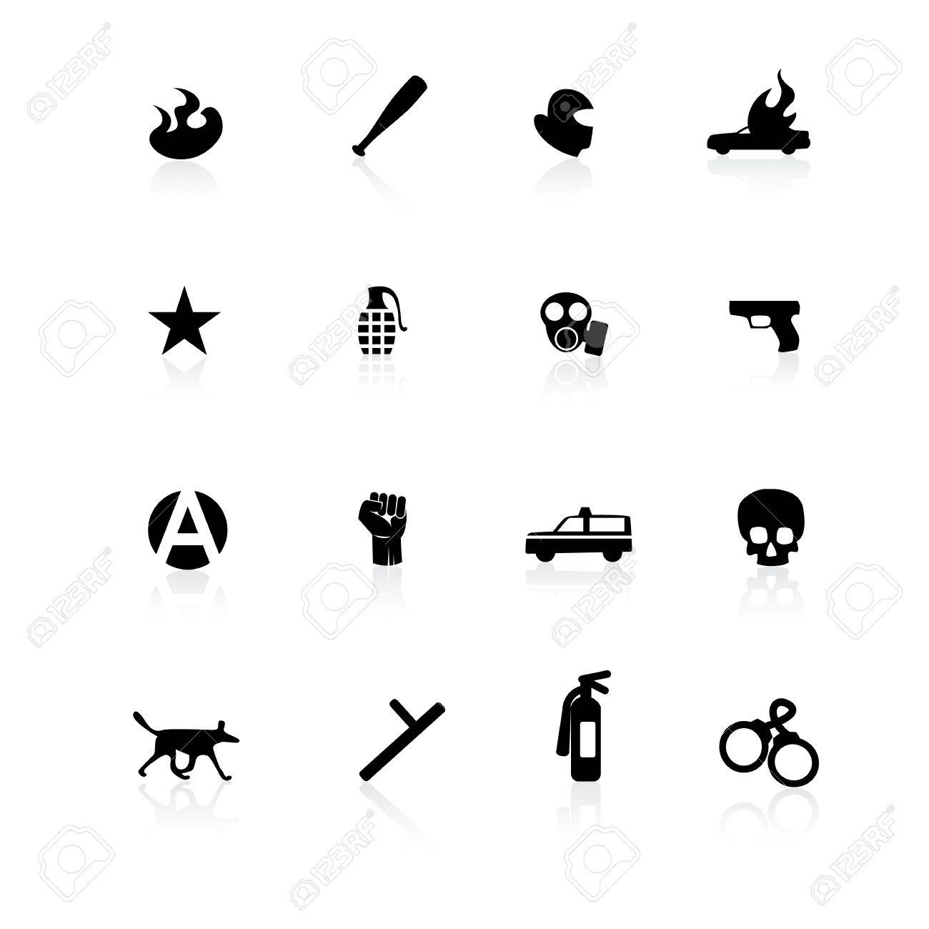 Black riot icons on white background with reflections Stock Vector - 12363197