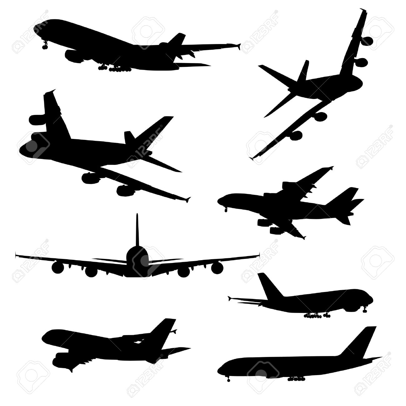 Airplane silhouettes, black isolated on white background - 12897643
