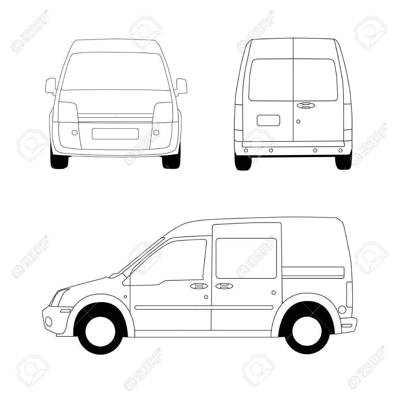 Delivery van line illustration Stock Vector - 12897639