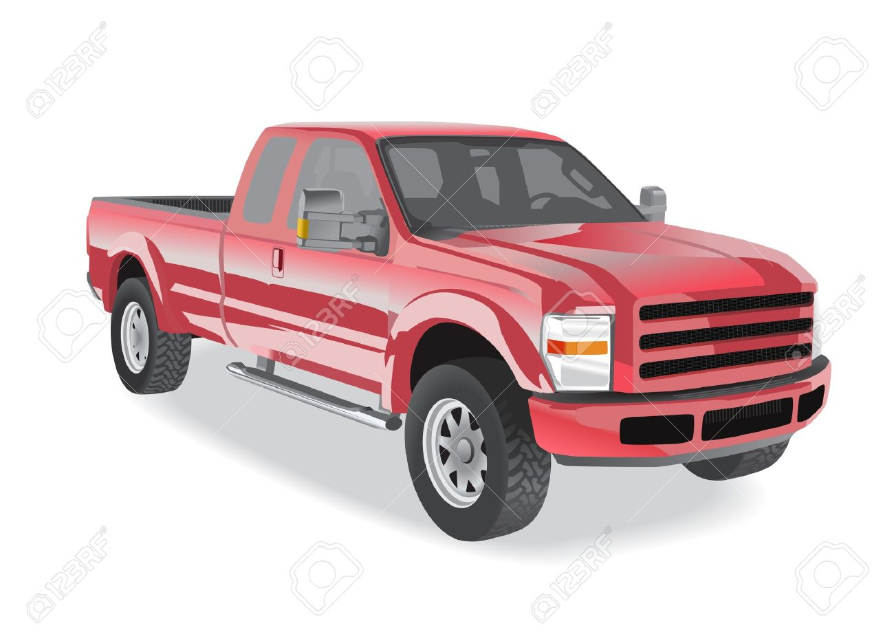 Pick-up truck red isolated on white background Stock Vector - 12897650