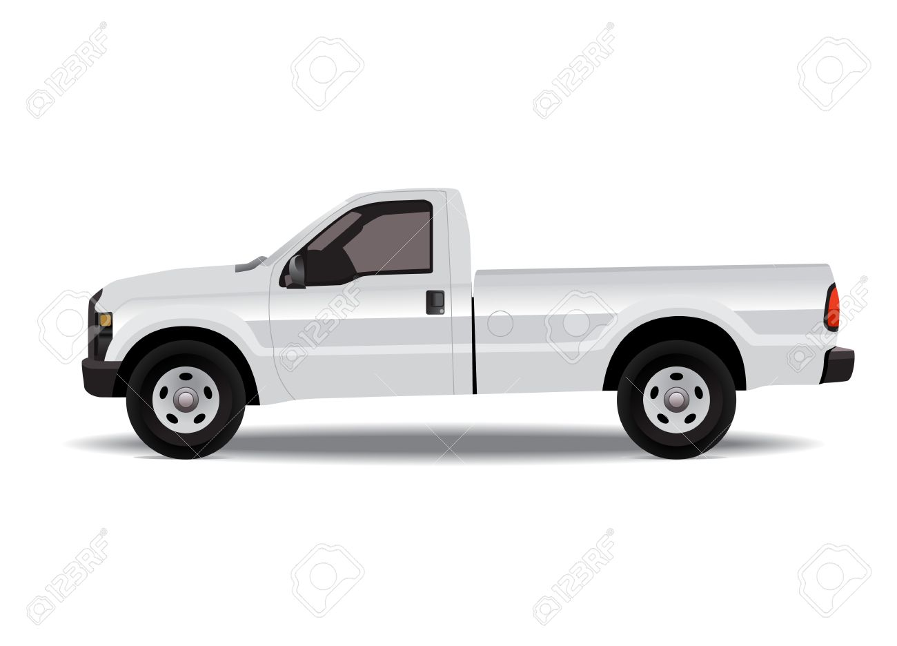White Pick Up Truck Isolated On White Background