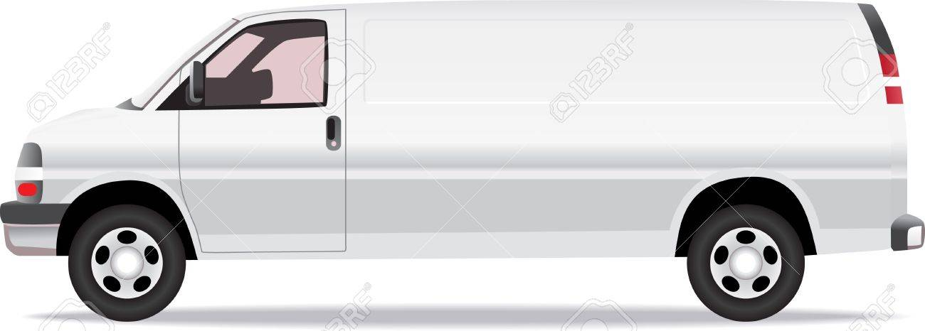 79f95787ee Delivery van side view illustration isolated on white Stock Vector -  12897658