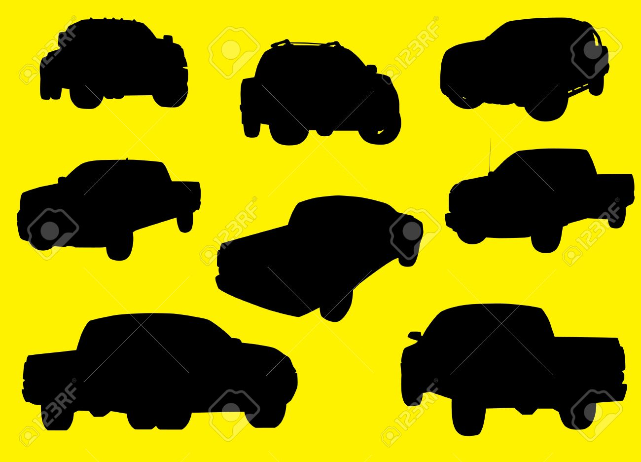 Pick-up trucks silhouettes isolated on yellow background Stock Vector - 12897667