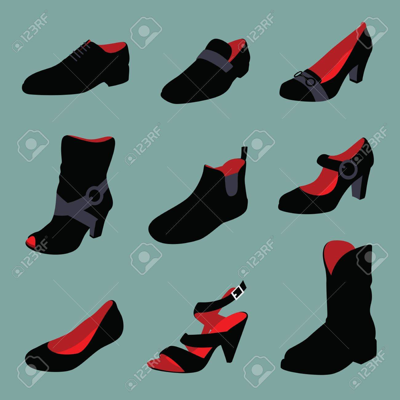 Men and women shoes silhouettes isolated on green background. Stock Photo - 13211900