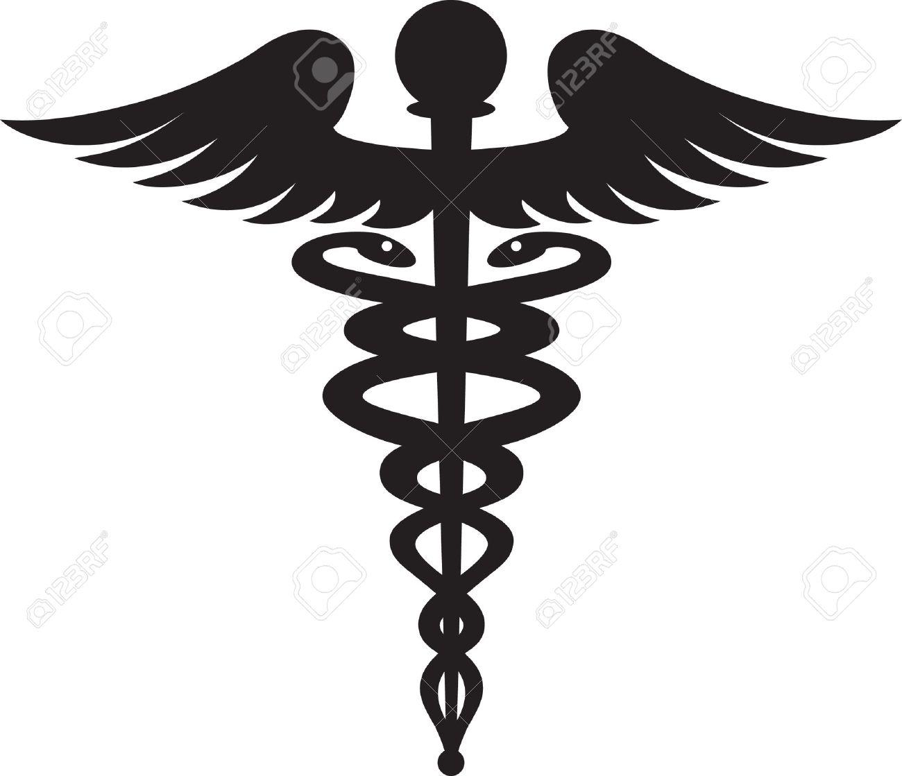Black caduceus symbol isolated on white background - 13535416
