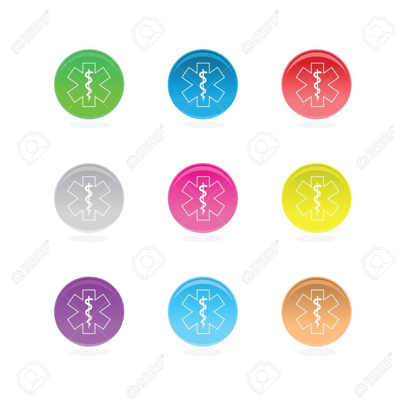 Medical star symbols in color circles isolated on white Stock Vector - 14580534