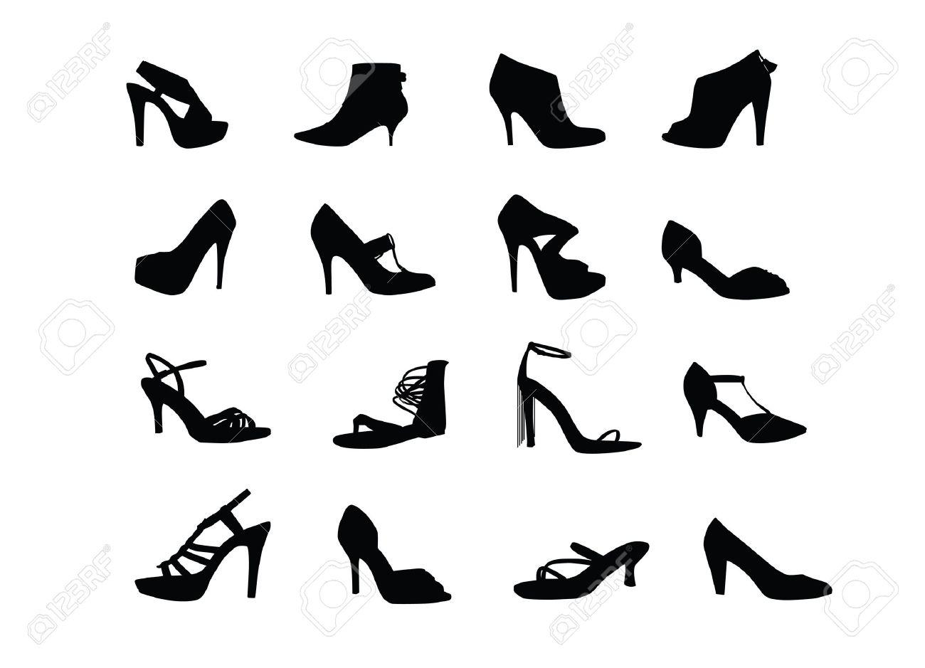 Women heel shoes silhouettes - 14580518