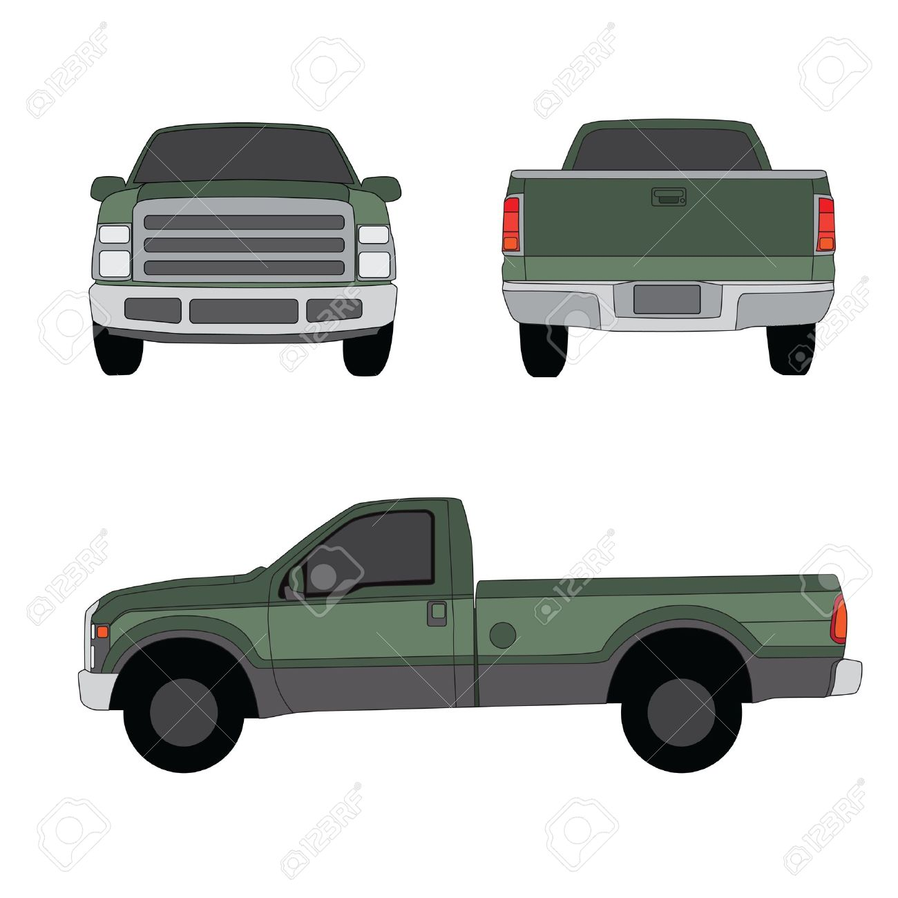 Pick-up truck green three sides view vector illustration - 14671849