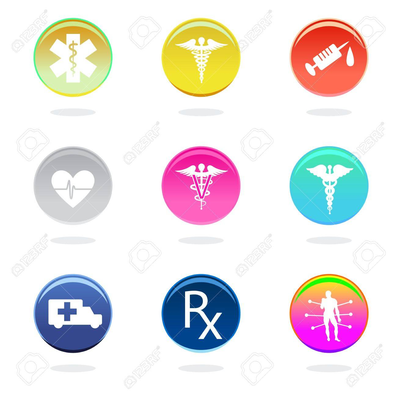 Medical icons in color circles on white background. Stock Vector - 14984051