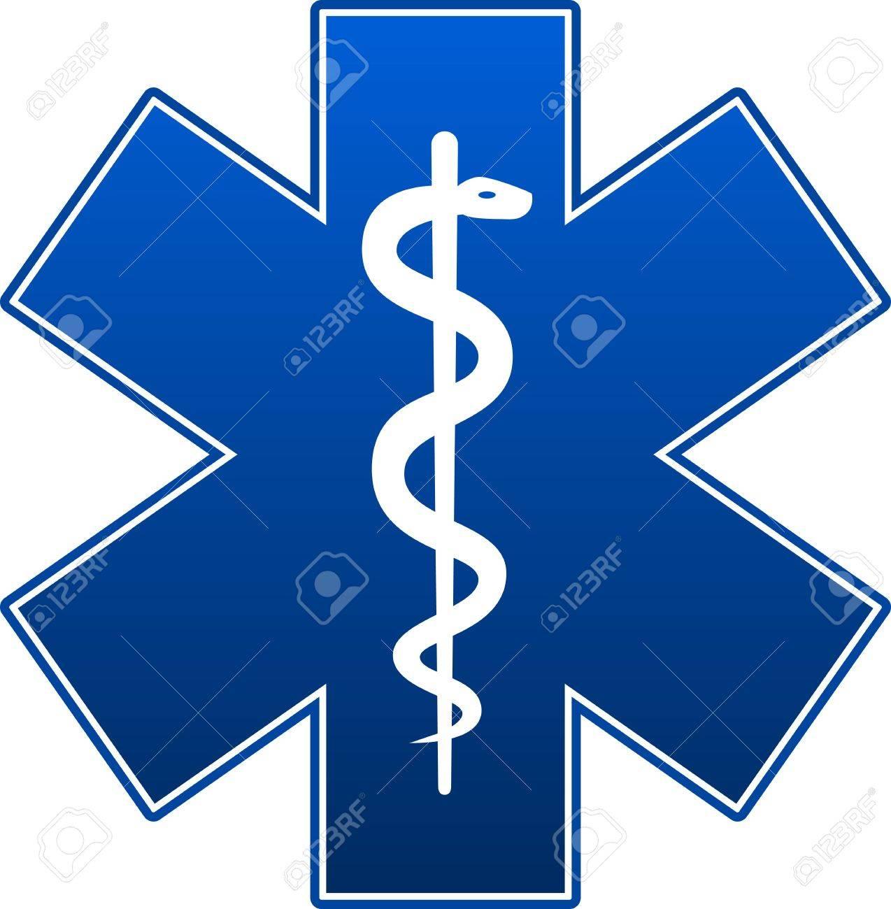 Emergency star blue on white background. - 14983965