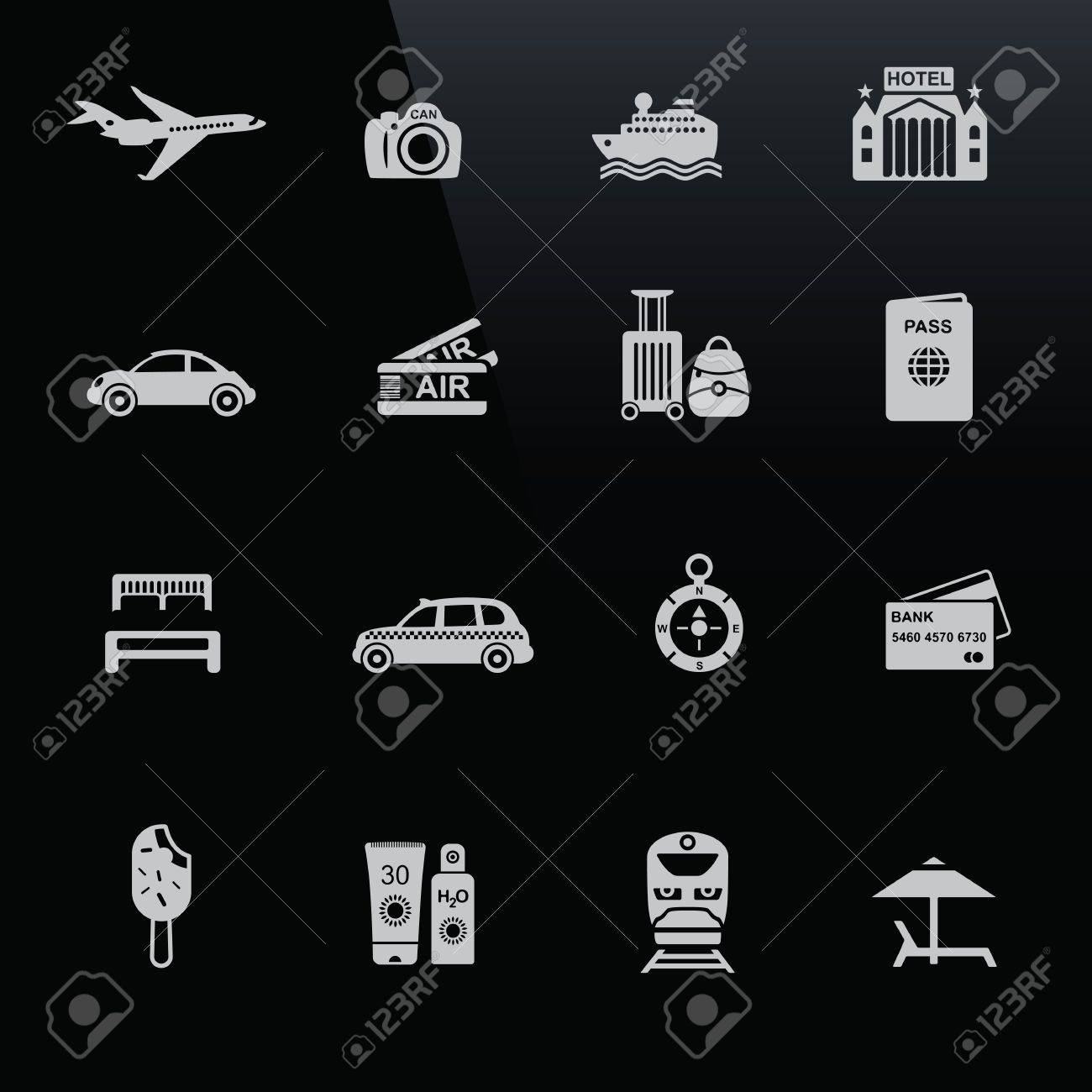 Travel icons white on black screen. Silhouettes of travel related objects. Stock Vector - 16135668