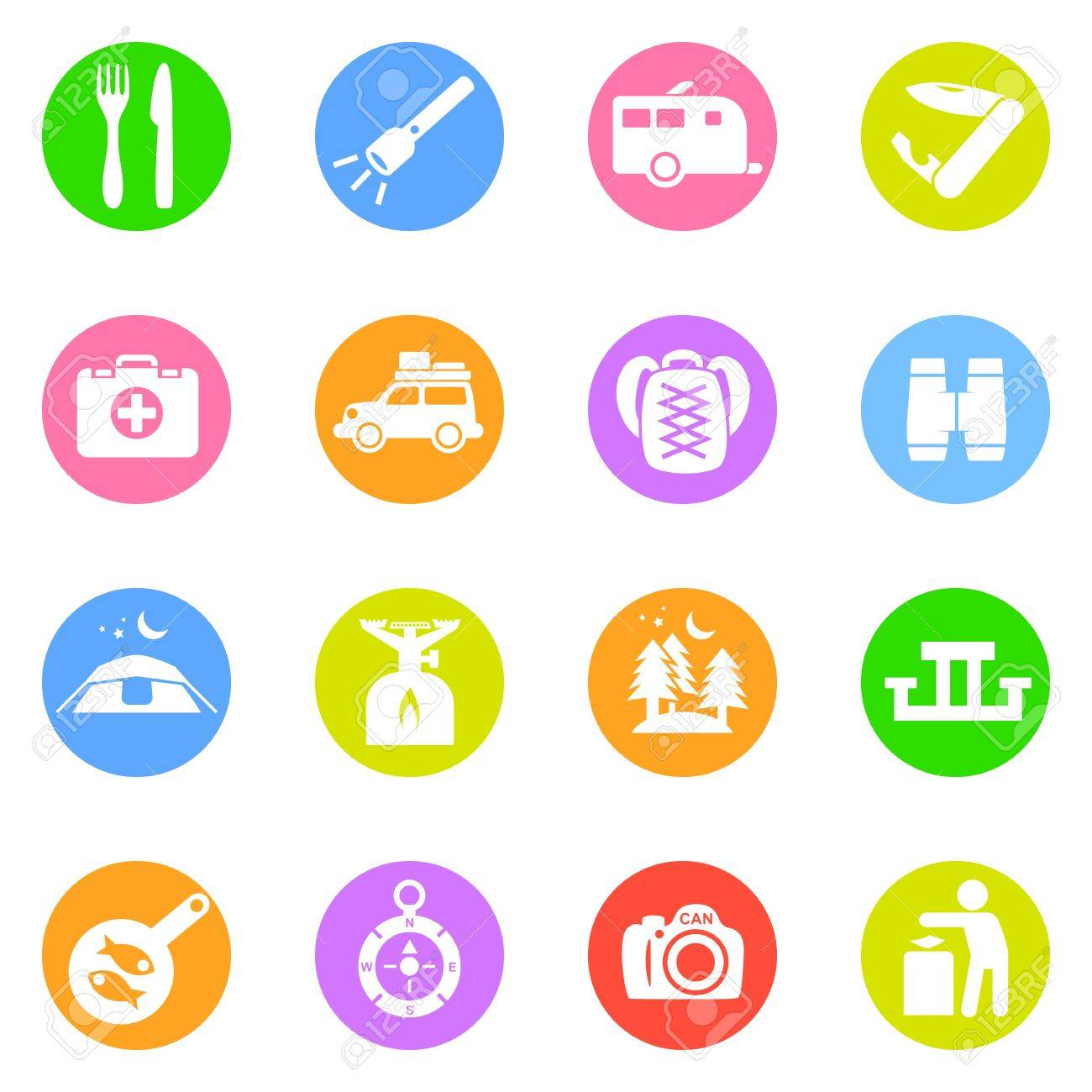 Camping icons in color circles isolated on white background. Stock Photo - 16915755