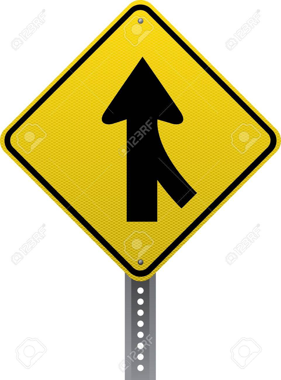 Merging traffic warning sign. Diamond-shaped traffic signs warn drivers of upcoming road conditions and hazards. Stock Vector - 20953906