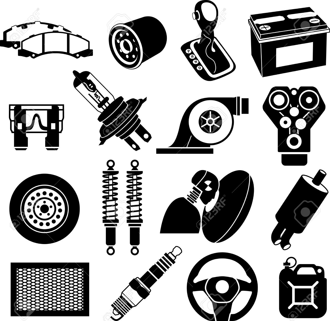 Car Maintenance Icons Black On White Stock Photo Picture And