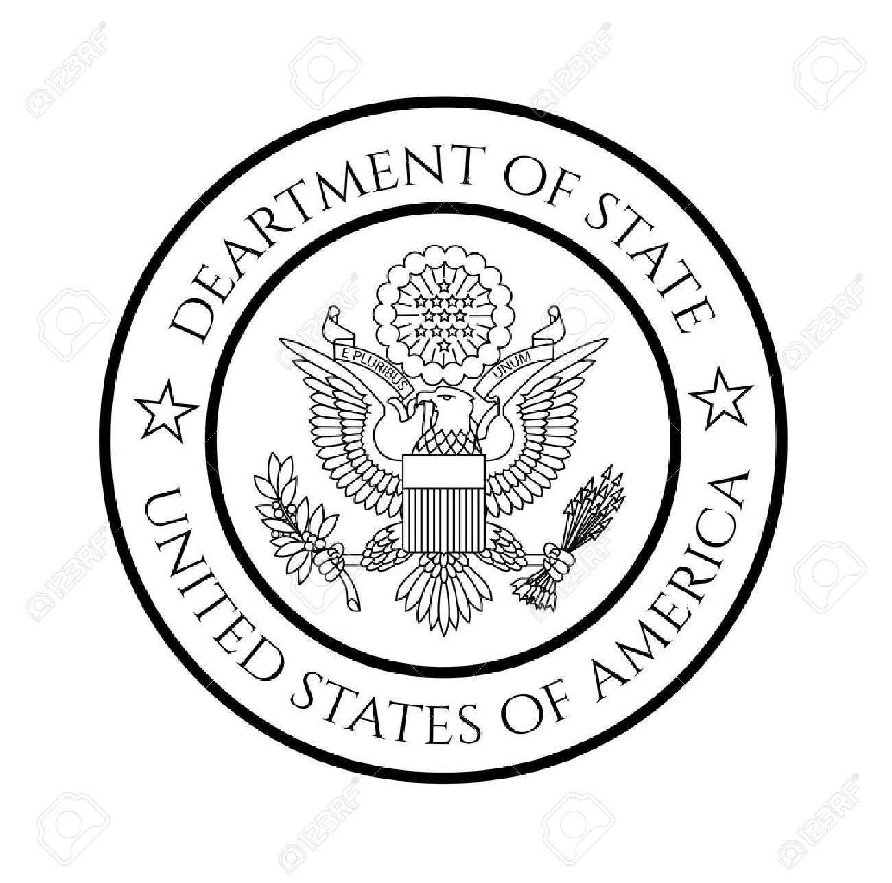 US department of state seal, black on white. - 44063866