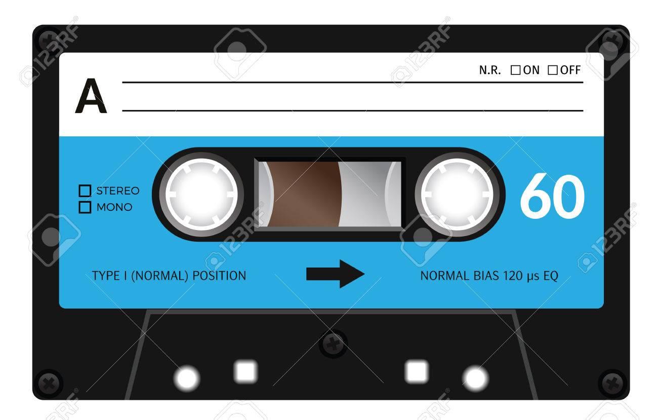 Retro plastic audio cassette, music cassette, cassette tape. Isolated on white background. Realistic illustration of old technology. Vintage tape. - 54482713