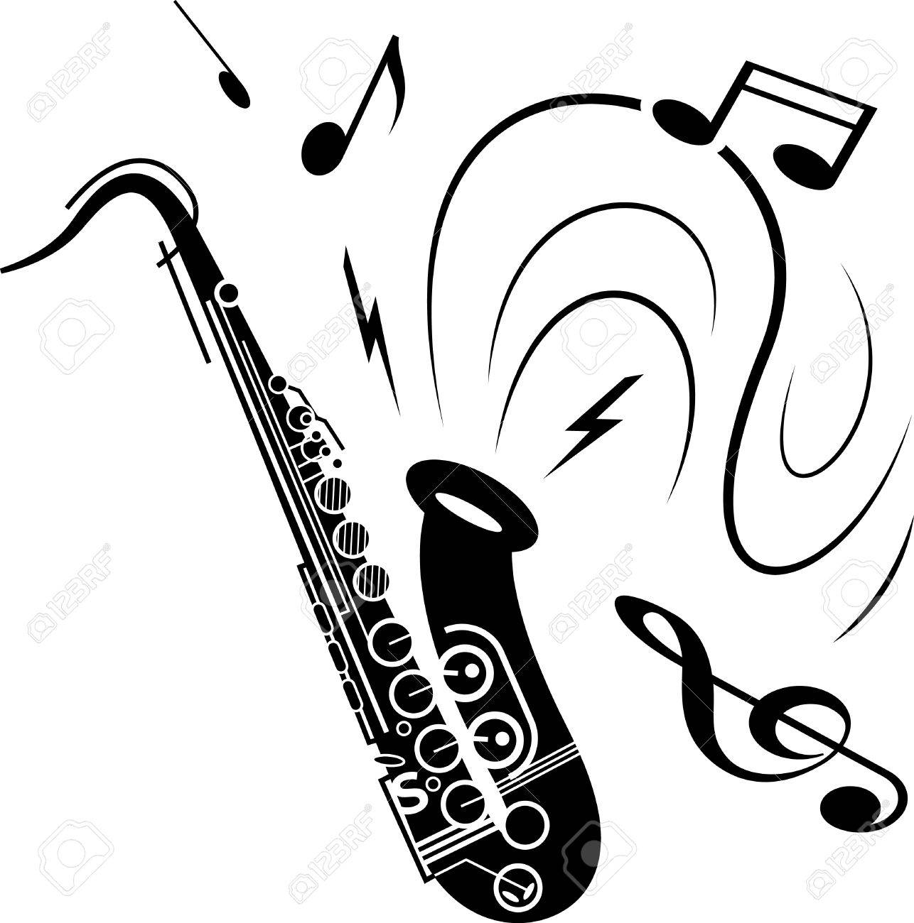 サクソフォーン音楽イラスト白黒音符楽器の噴霧と黒のサックス