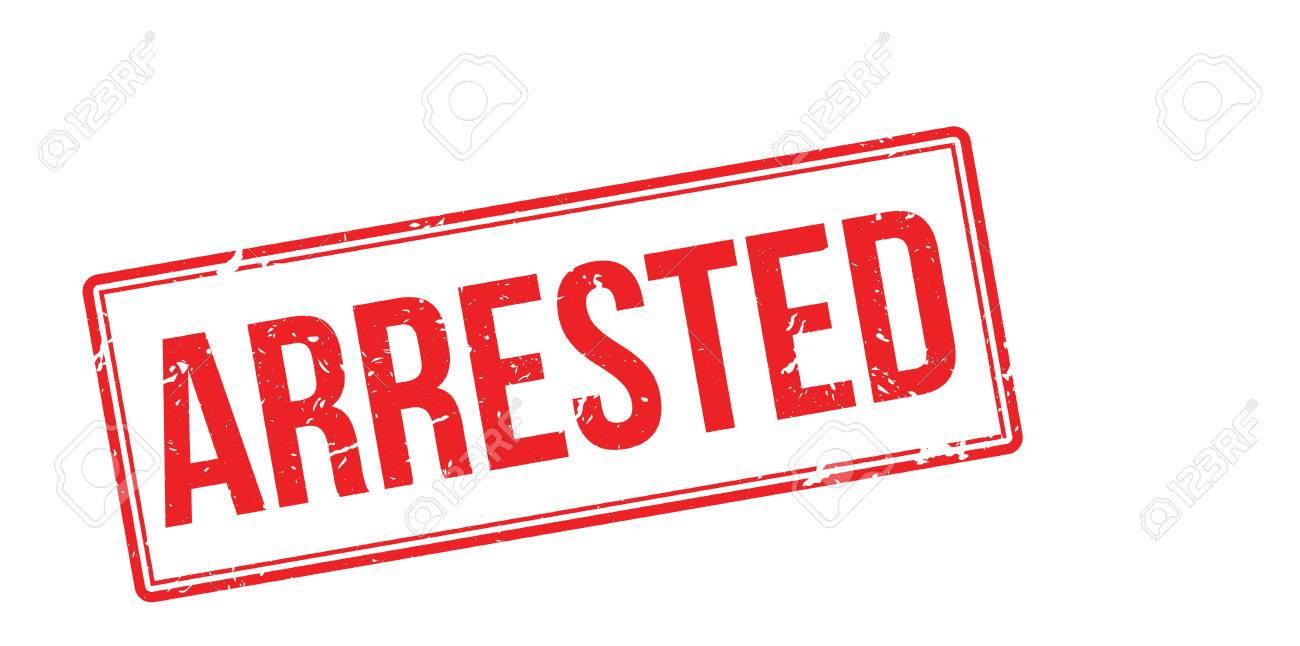 Detenido Sello De Goma Roja Sobre Fondo Blanco. Imprimir ...