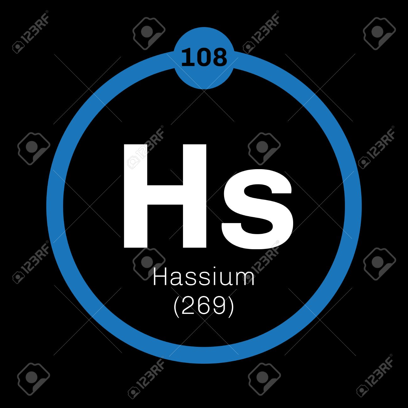 Hassium chemical element radioactive synthetic element colored hassium chemical element radioactive synthetic element colored icon with atomic number and atomic weight gamestrikefo Gallery