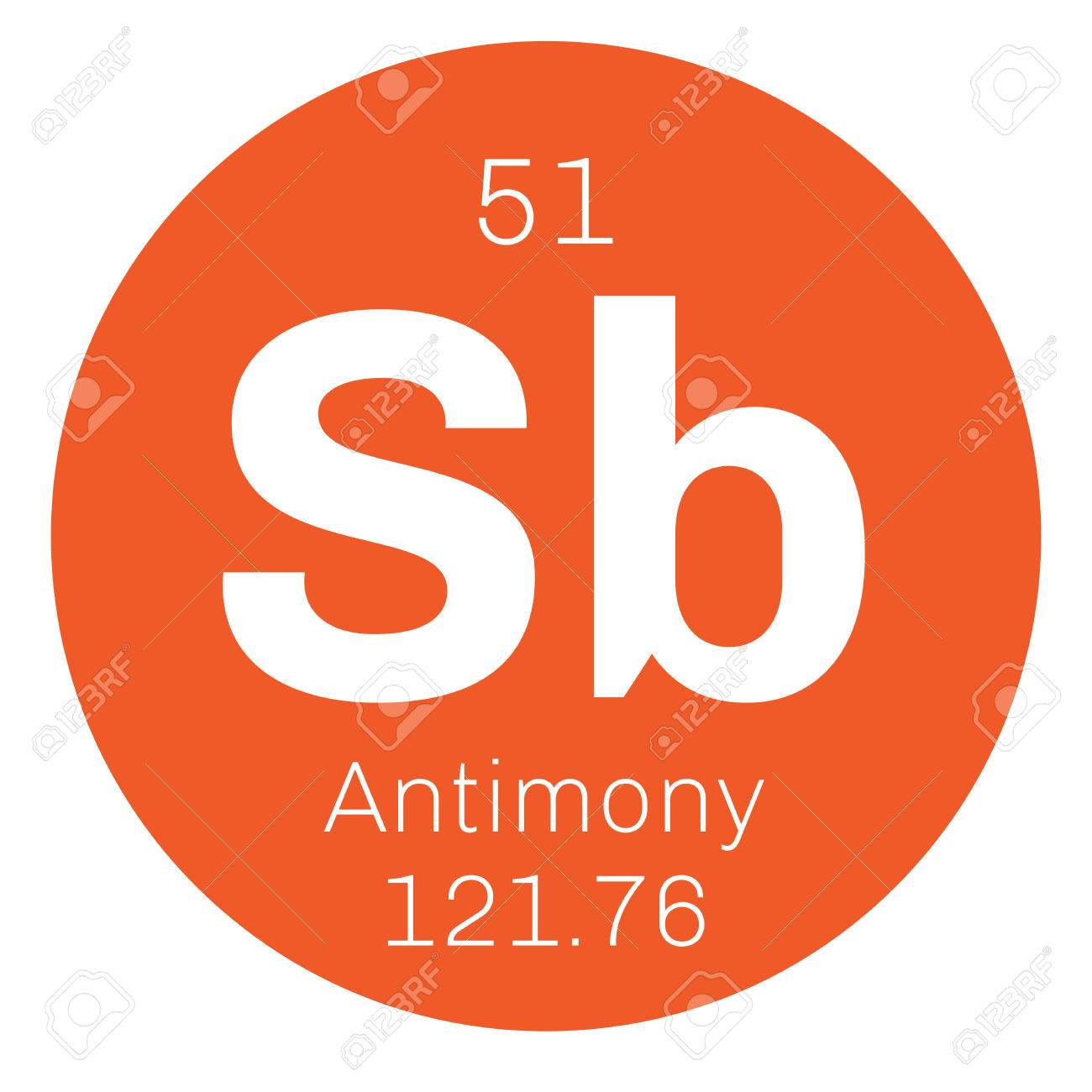 Antimony Chemical Element Gray Metalloid Colored Icon With