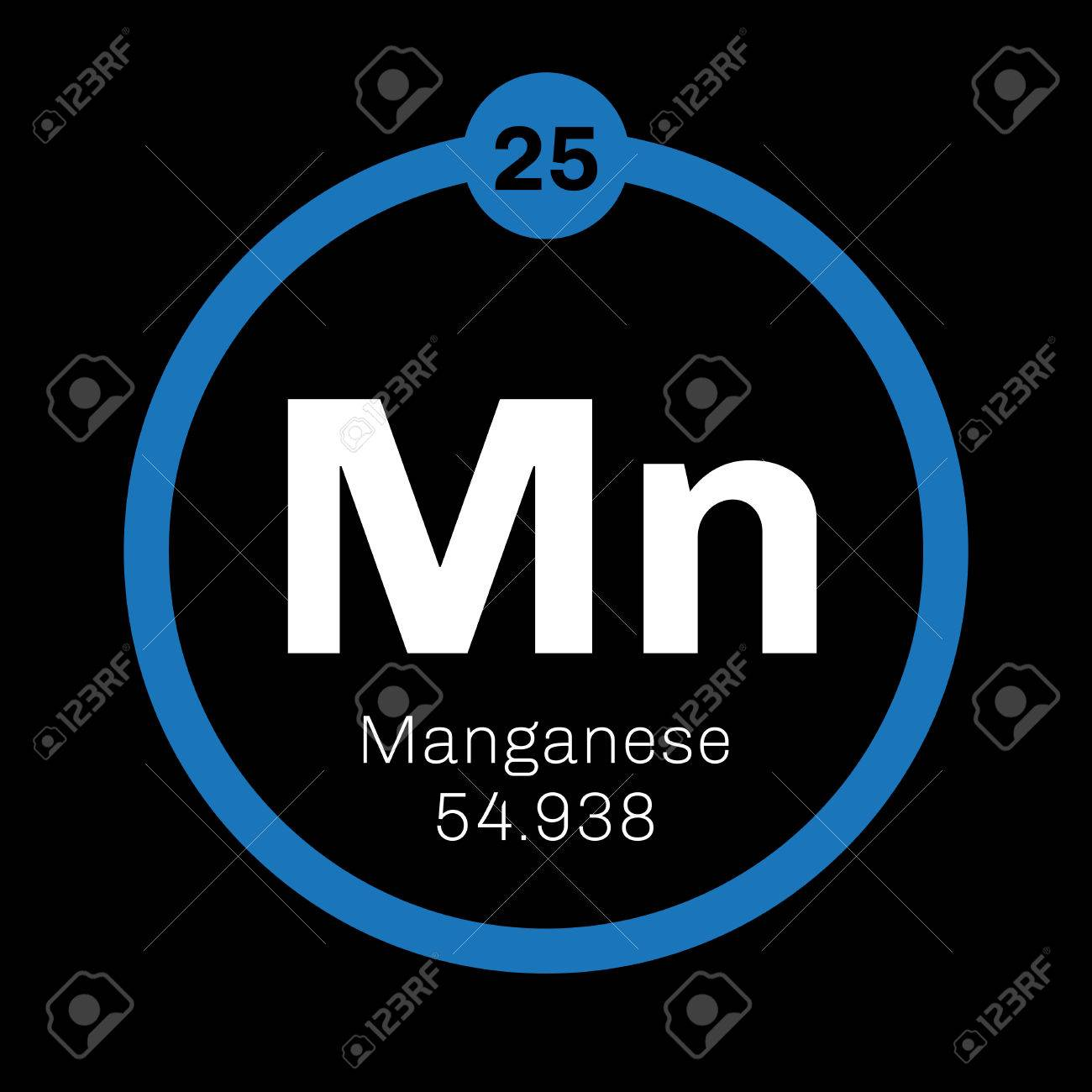 Manganese Chemical Element Colored Icon With Atomic Number And