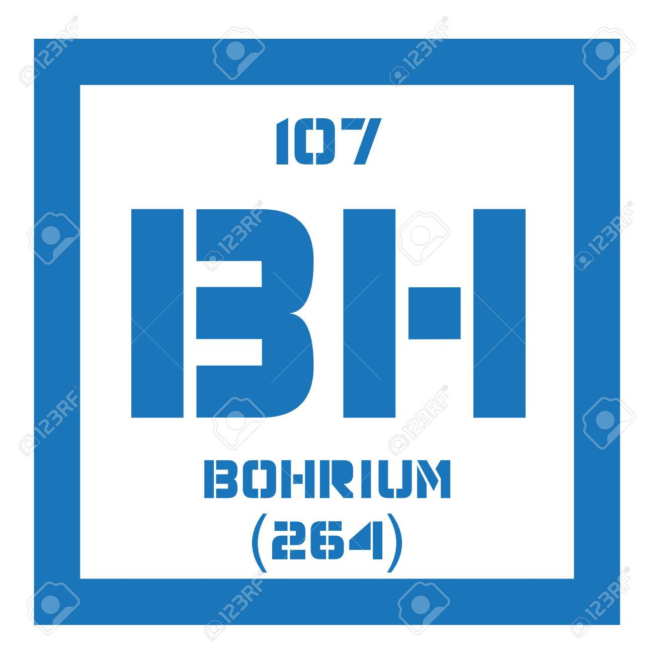 Bohrium chemical element radioactive synthetic element colored bohrium chemical element radioactive synthetic element colored icon with atomic number and atomic weight urtaz