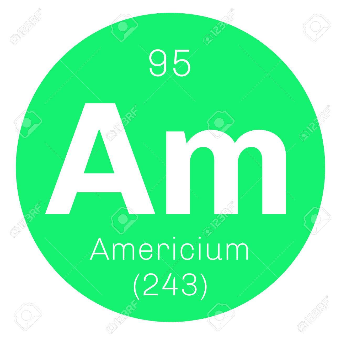 Americium chemical element radioactive transuranic chemical americium chemical element radioactive transuranic chemical element colored icon with atomic number and atomic urtaz Choice Image