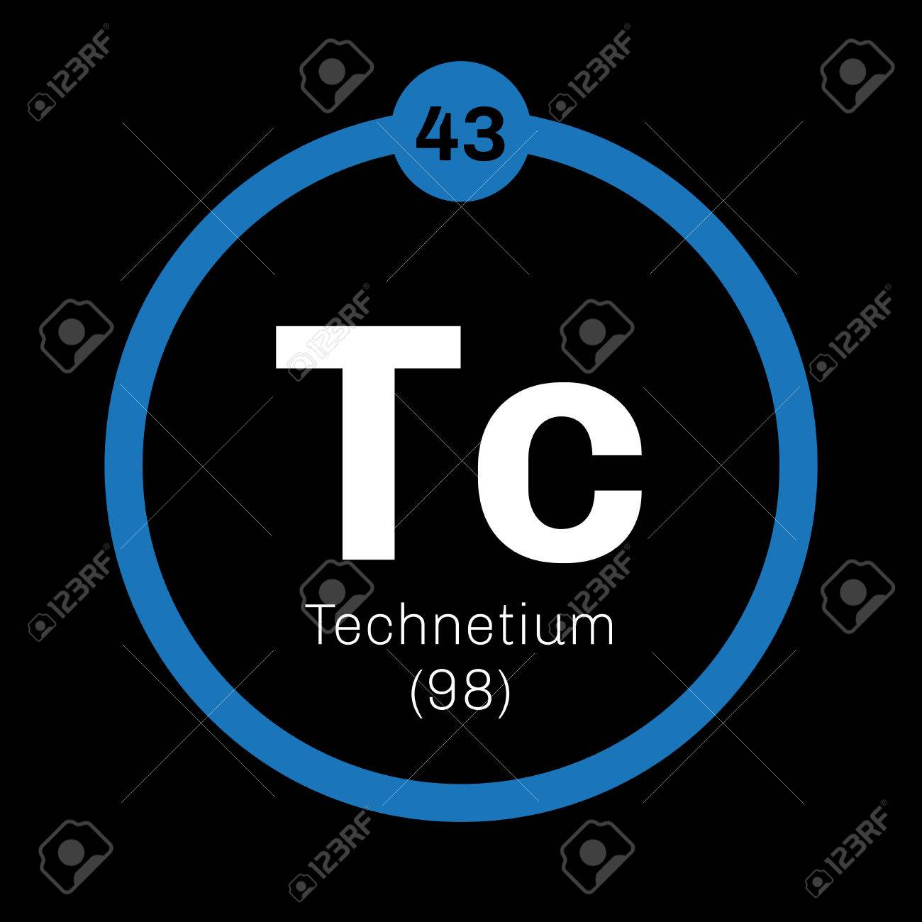 Tecnecio elemento qumico ms ligero elemento radiactivo icono de ms ligero elemento radiactivo icono de color con el nmero atmico y el peso atmico elemento qumico de la tabla peridica urtaz Gallery