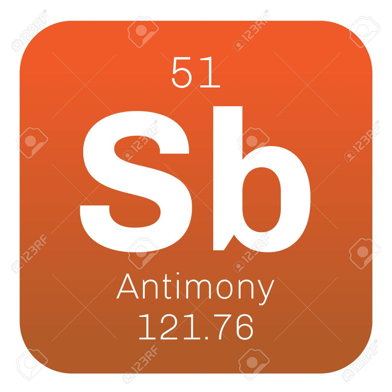 Antimony chemical element gray metalloid colored icon with antimony chemical element gray metalloid colored icon with atomic number and atomic weight biocorpaavc Images