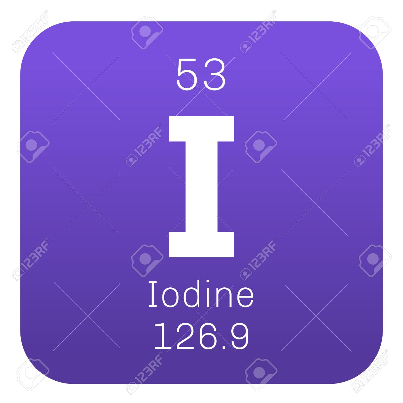 Iodine chemical element colored icon with atomic number and iodine chemical element colored icon with atomic number and atomic weight chemical element of urtaz Images