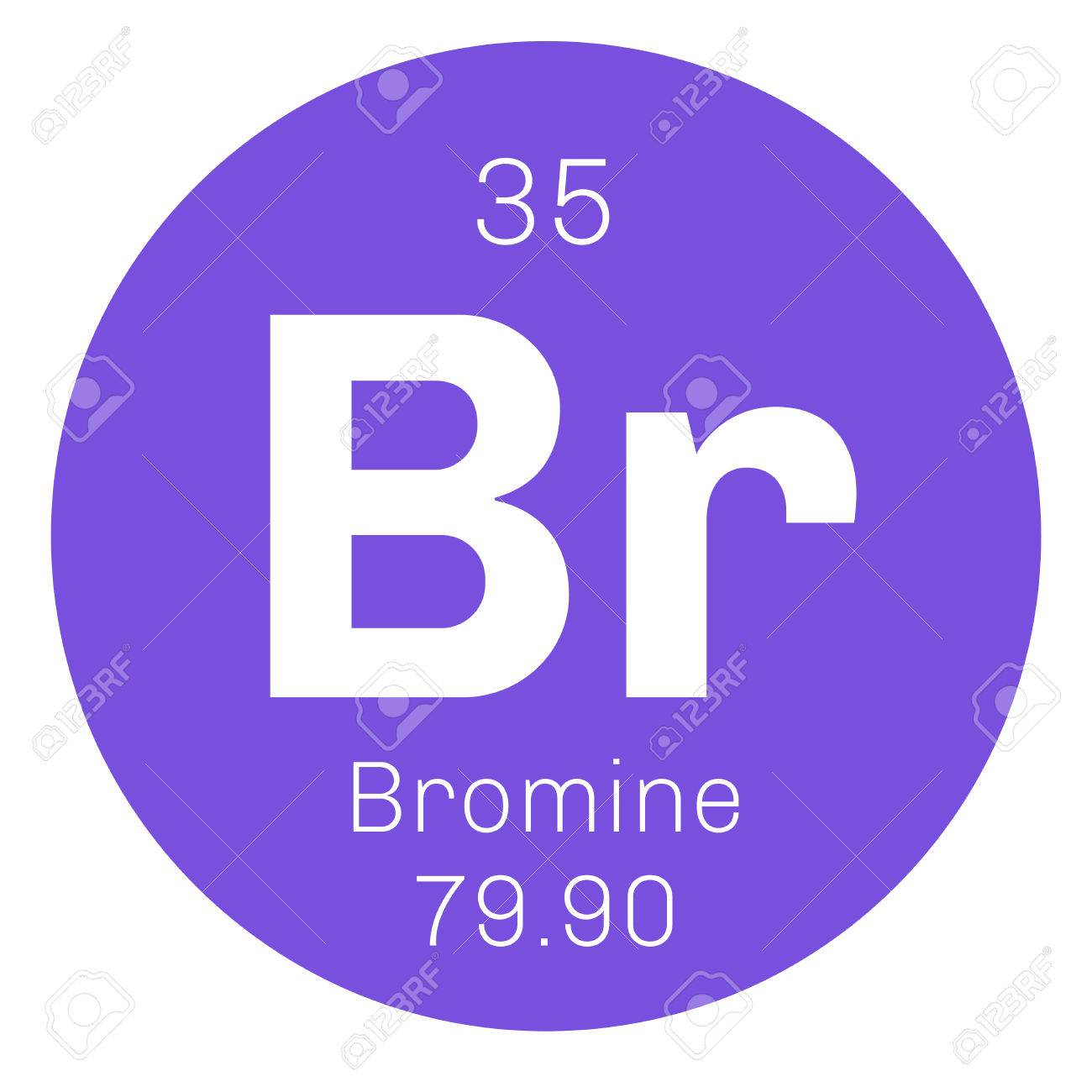 bromine chemical element corrosive and toxic colored icon with atomic number and atomic weight